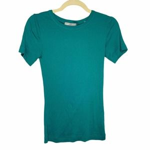 Vince Knit Crew Short Sleeves T-Shirt Teal Green S